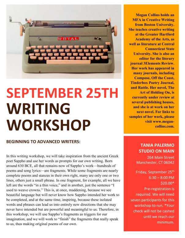 WRITING WORKSHOP SEPTEMBER 2015 TANIA PALERMO STUDIO ON MAIN