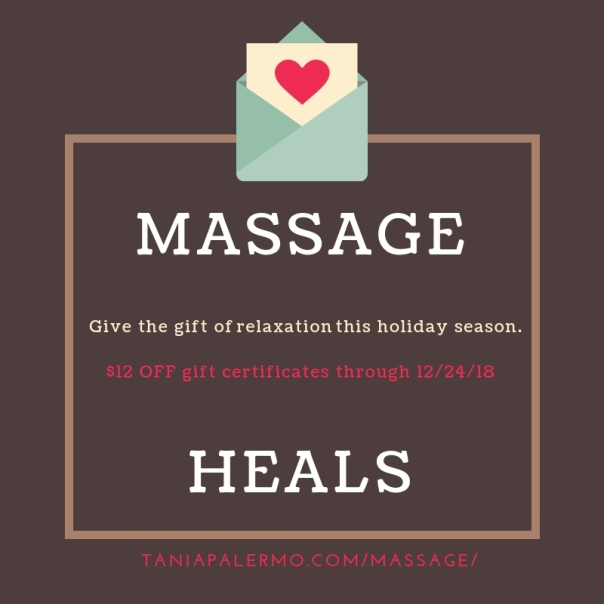 Shop online through 12/24/18 to take $12 OFF select gift certificates for massage.